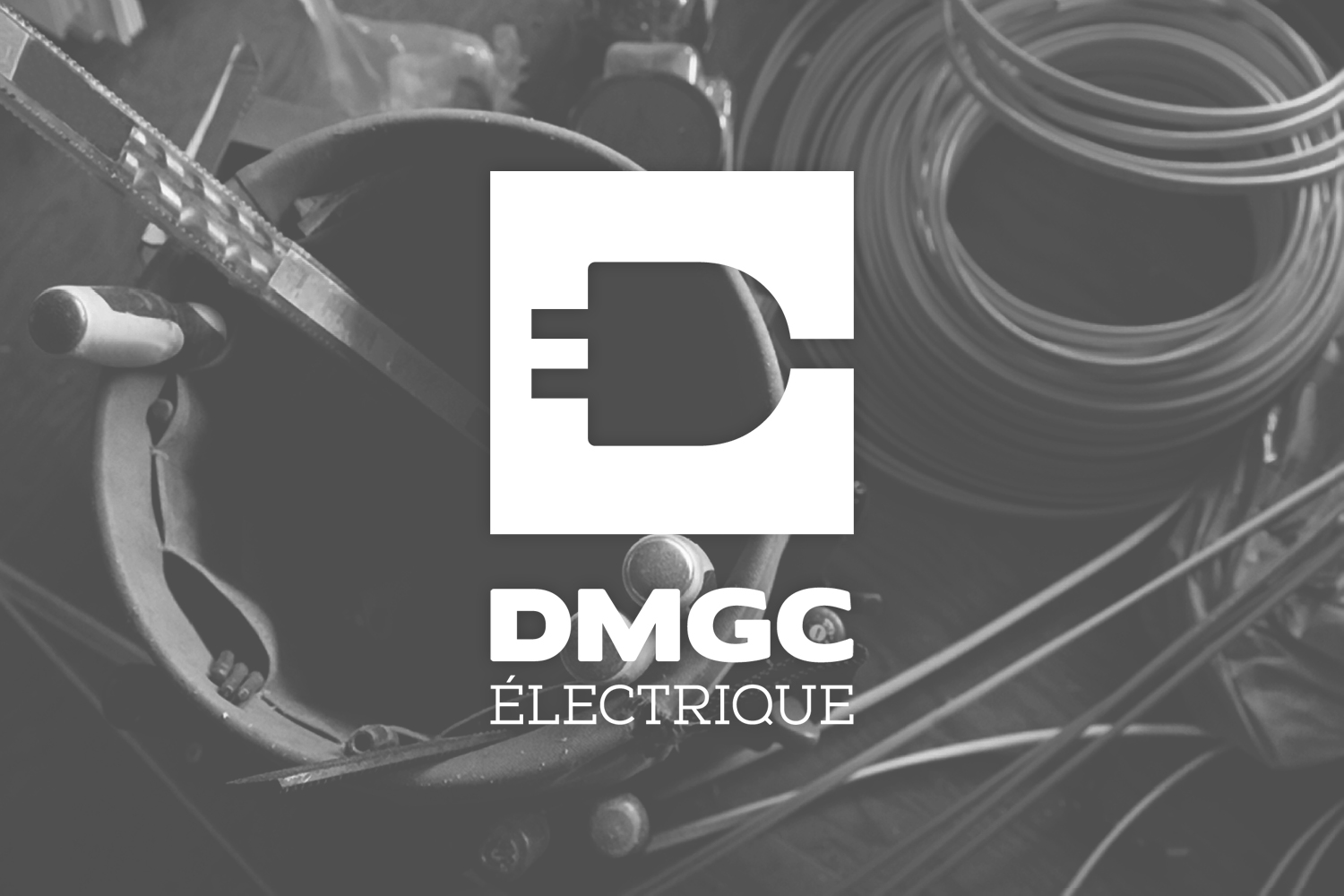 dmgc electrique's logo over image of electrician's tools and wires, black and white image, simple, logo in white, logo design, branding