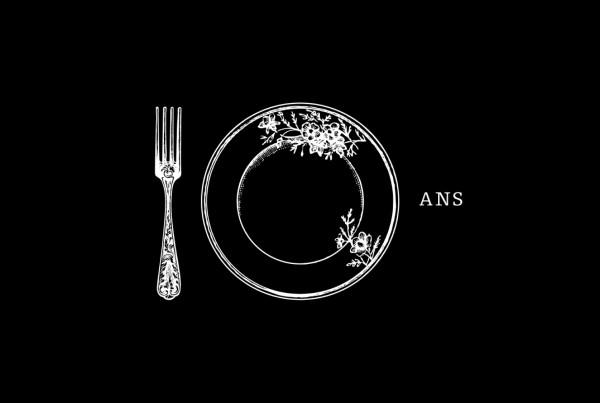 grandir sans frontieres degustation gourmande event logo, black and white, gourmet, fork and plate, 10 years logo, print design