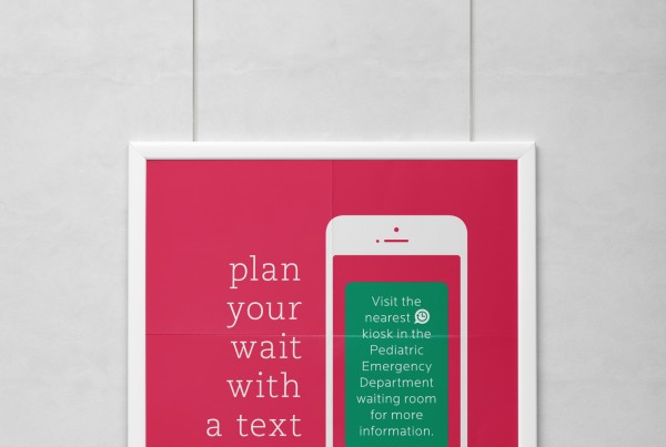 poster design for wait kiosk project, plan your wait with a text update, french and english, hanging poster, the montreal's children's hospital logo, text message concept, print design