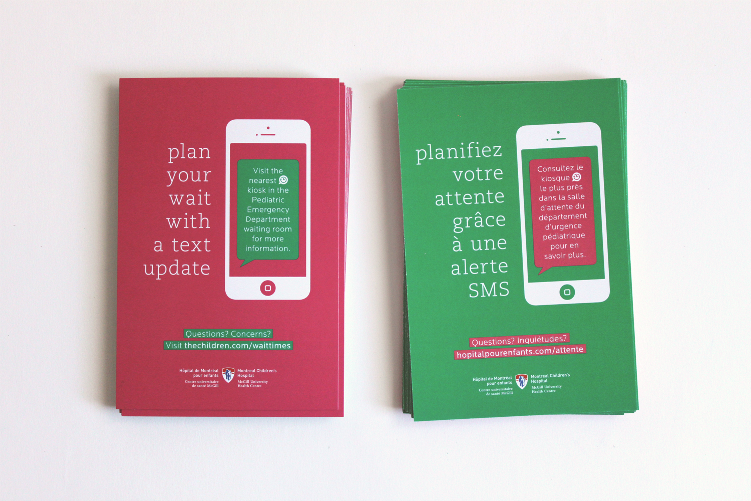 flyer design for wait kiosk project, plan your wait with a text update, french and english, overhead view, the montreal's children's hospital logo, text message concept, print design