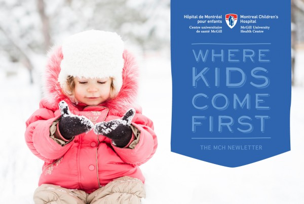 where kids come first banner design, girl with snow on mittens, block lettering, the montreal children's newsletter, print design, editorial design, digital design