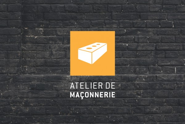atelier de maconnerie logo over black brick wall image, orange logo, brick, logo design, branding