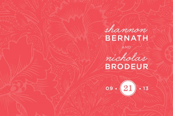 wedding invitation design for bernath/brodeur wedding, bright coral with subtle floral background pattern, wedding date logo, handwriting font, print design