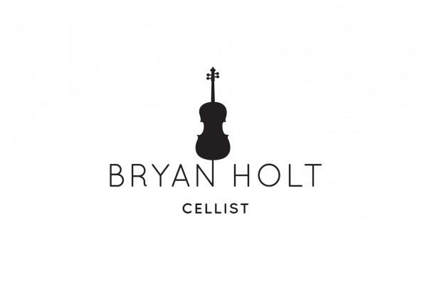 bryan holt's logo design, white background with black logo, cello above name, simple, cellist, branding