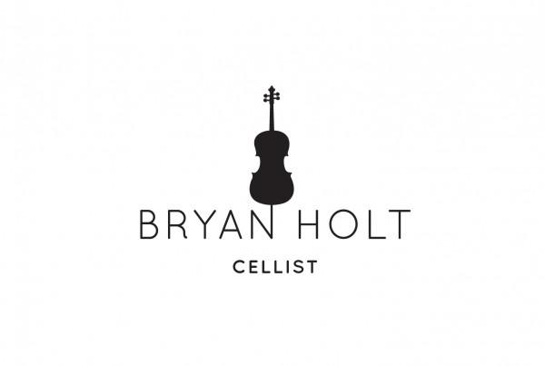 bryan holt's logo design, white background with black logo, cello above name, simple, cellist, branding