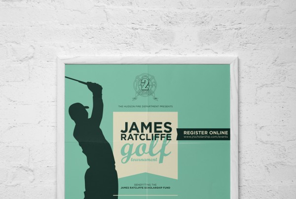 james ratcliffe golf tournament poster, silhouette of golfer, simple, retro, hudson fire department logo, print design