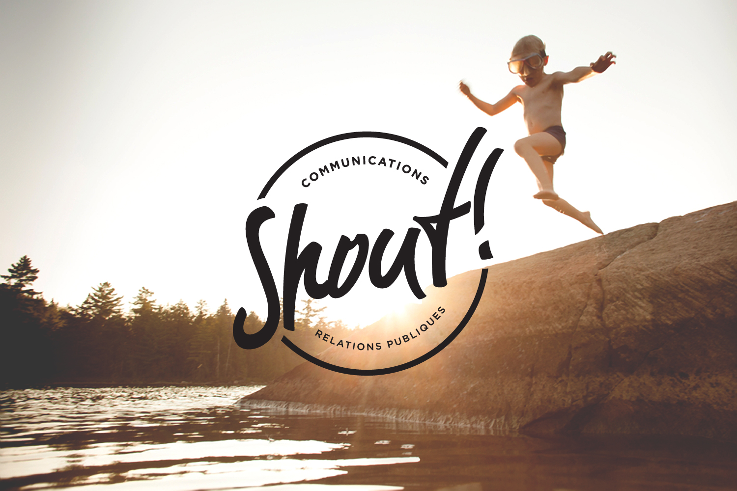 shout communications logo design over image of kid jumping in lake, circle logomark, handwriting font, casual, branding, public relations agency