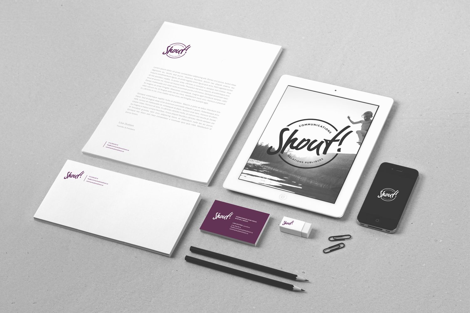 shout communications stationery layout, letterhead design, envelope design, business card design, logo over image of boy jumping into lake displayed on ipad, branding, public relations agency, print design