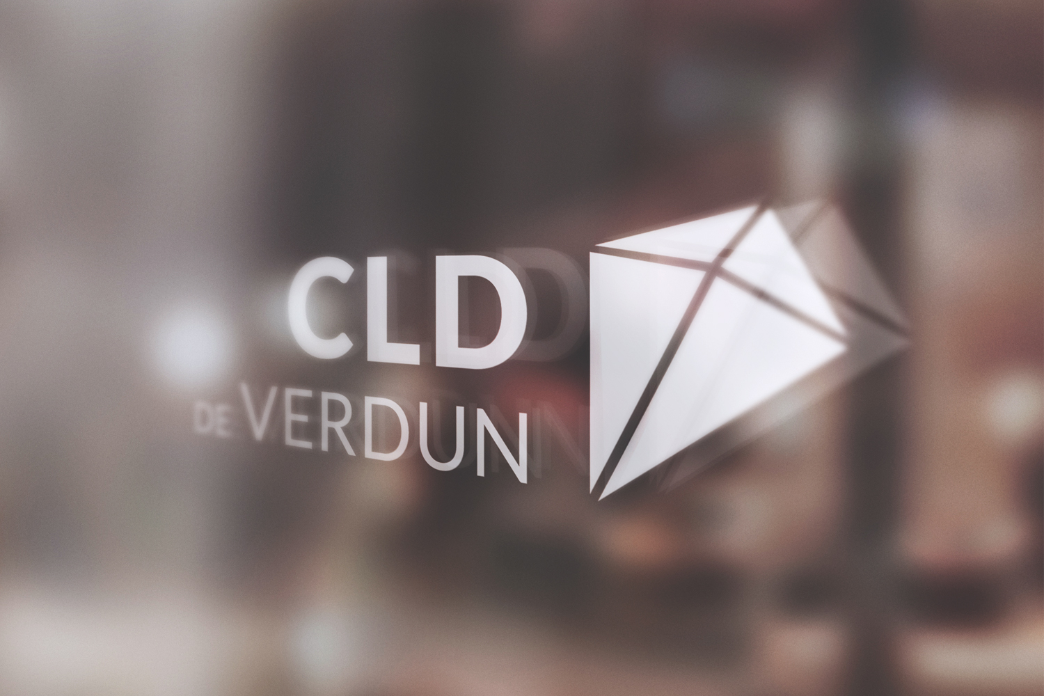 cld de verdun logo in white on glass window, signage, branding, kite, logo, centre local de developpement de verdun, french, verdun, entrepreneurs, startups, local businesses