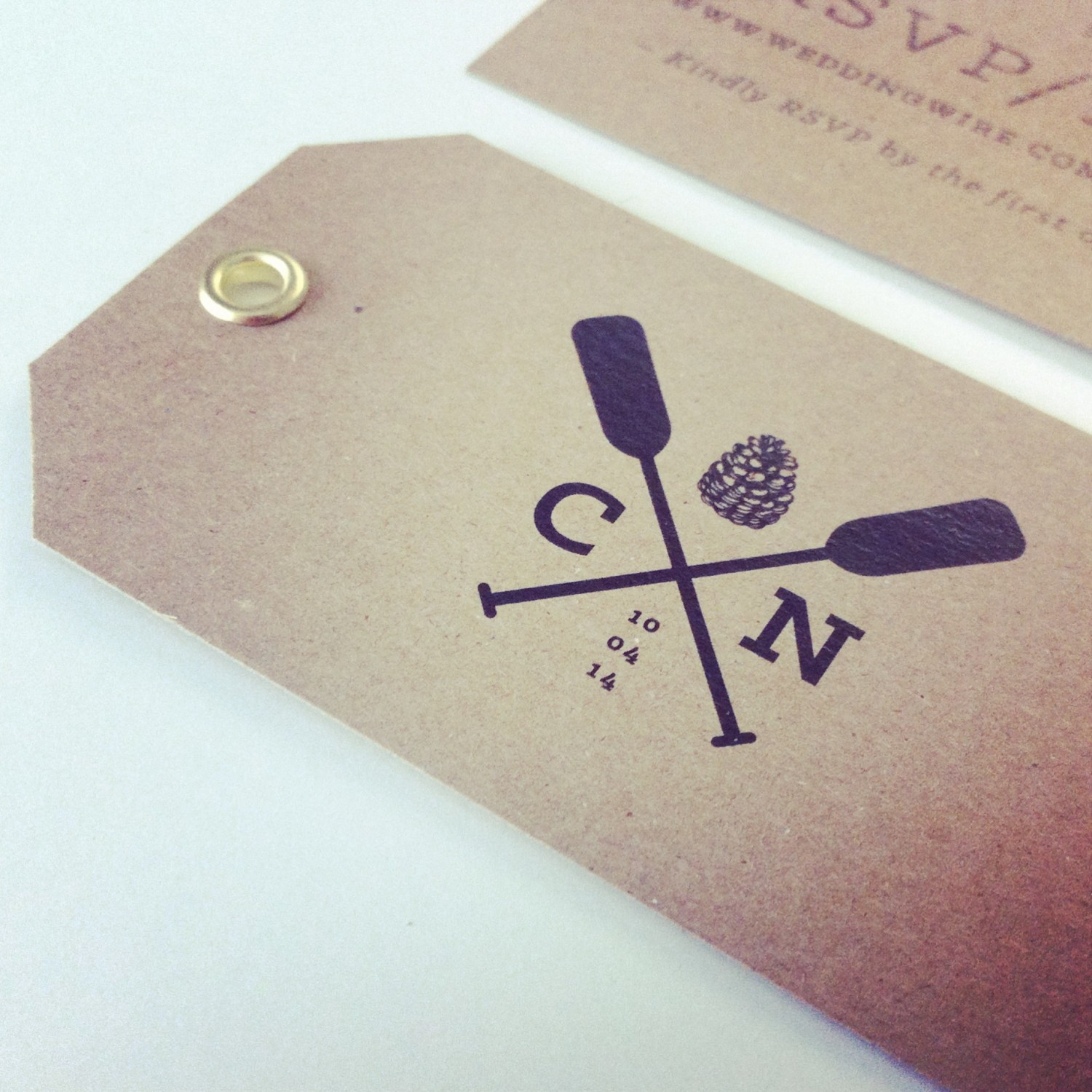 wedding invitation kraft tags with gold eyelet and logo, wedding invitation design, RSVP tag, custom design, kraft paper, woods, maine, canoe paddles