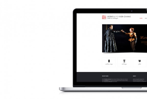 jessica poirier-chang's website design displayed on macbook pro, home page, project slider, costume design, set design, film, fine art icons, website design, digital design, black and red, chinese symbol logo