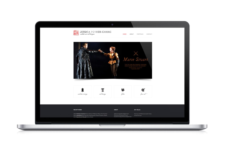 jessica poirier-chang's website design displayed on macbook pro, home page, project slider, costume design, set design, film, fine art icons, website design, digital design, black and red, chinese symbol logo